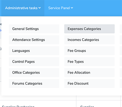 Expenses category from admin tasks