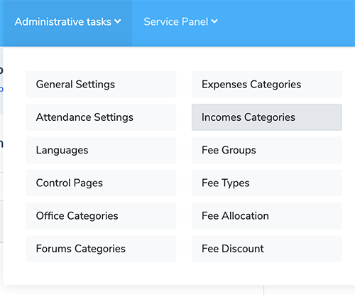 Income Categories Admin panel