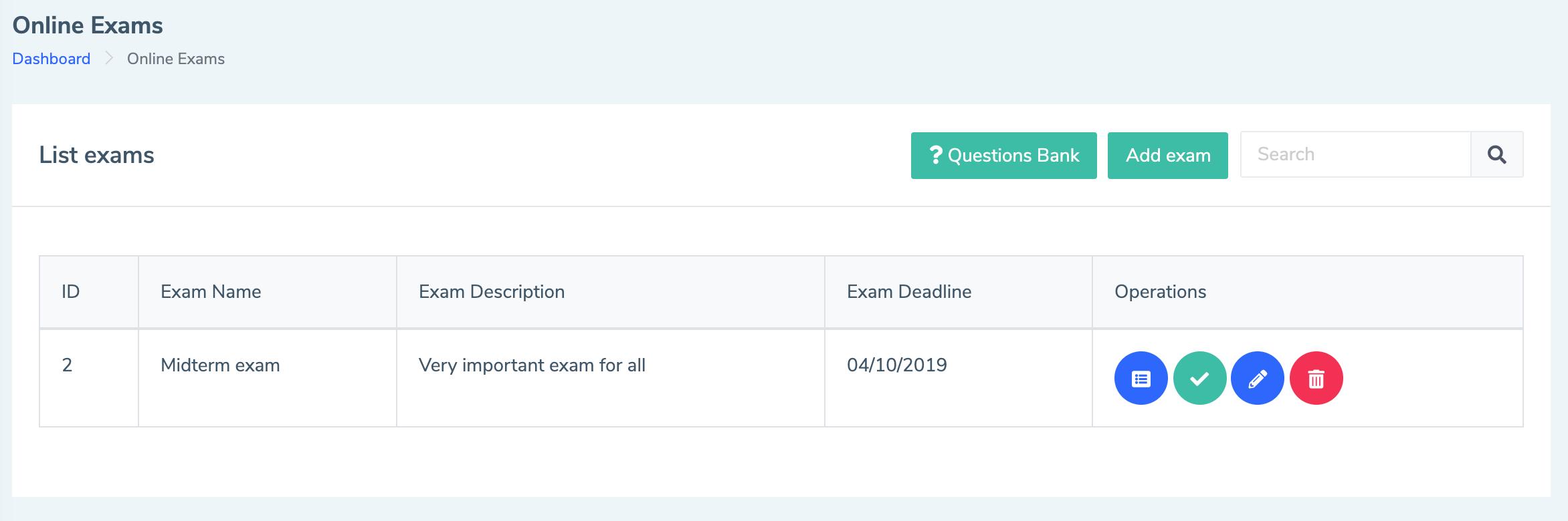 Eduopus Welcome Online Exams list